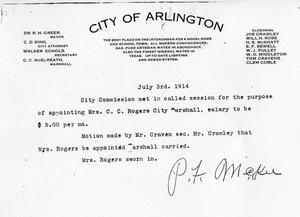 Primary view of object titled '[City of Arlington document appointing Mrs. C.C. Rogers as the City Marshal of Arlington, view 1]'.