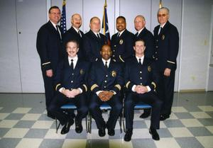 Primary view of object titled '[Arlington Police Chief Theron Bowman with Assistants and Deputy Chiefs, 2000]'.