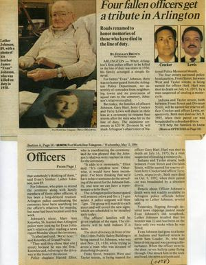 [Newspaper article about the street dedications for fallen Arlington police officers, part 1]