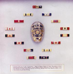 Primary view of object titled '[APD badges and decorations]'.