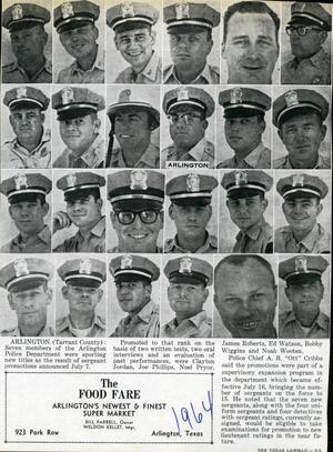 Primary view of object titled '[APD police officers from the Texas Lawman Magazine, 1964, page 2]'.