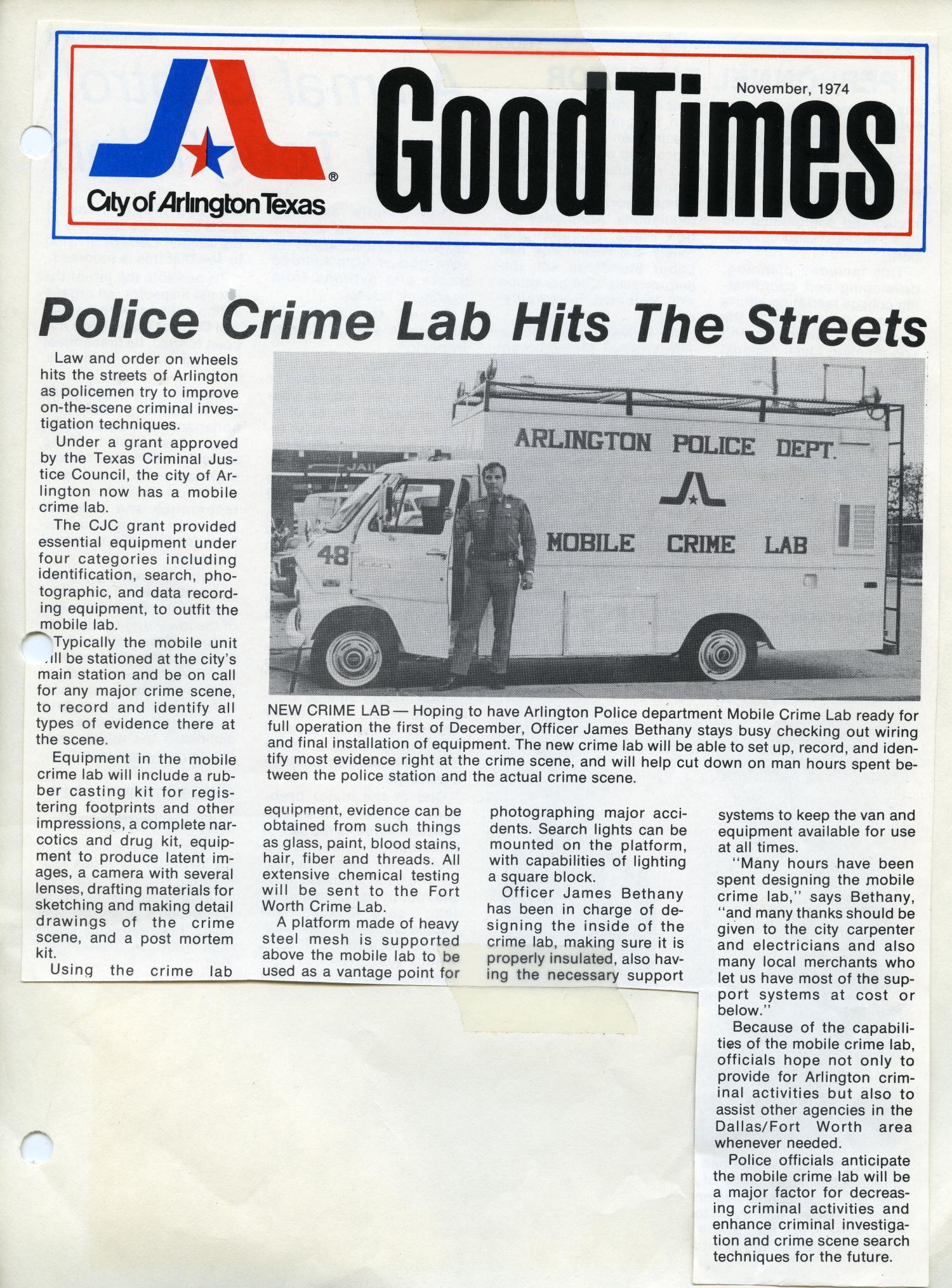 Arlington Tx News >> Apd Mobile Crime Lab Newspaper Article From The Arlington