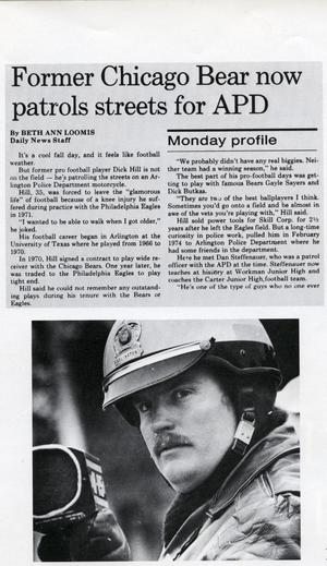 [Arlington Police Officer Dick Hill newspaper article from the Arlington Daily News, 1975]