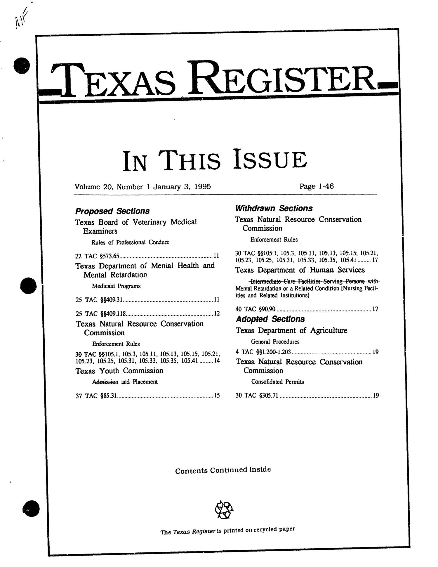 Texas Register, Volume 20, Number 1, Pages 1-46, January 3, 1995                                                                                                      Title Page