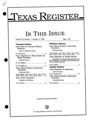 Primary view of object titled 'Texas Register, Volume 20, Number 1, Pages 1-46, January 3, 1995'.