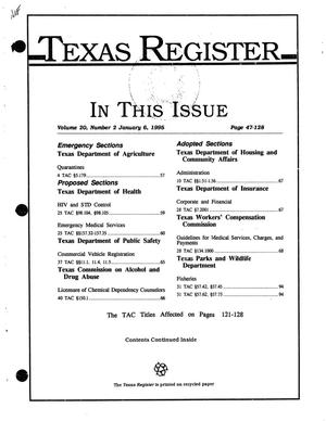 Texas Register, Volume 20, Number 2, Pages 47-128, January 6, 1995