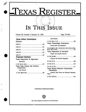 Texas Register, Volume 20, Number 4, Pages 175-260, January 13, 1995