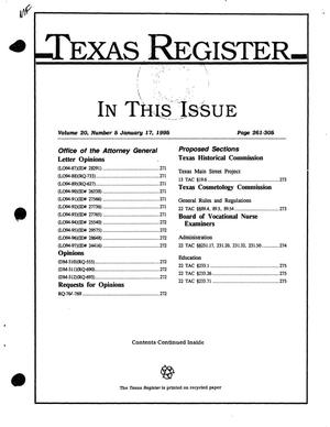 Primary view of object titled 'Texas Register, Volume 20, Number 5, Pages 261-305, January 17, 1995'.