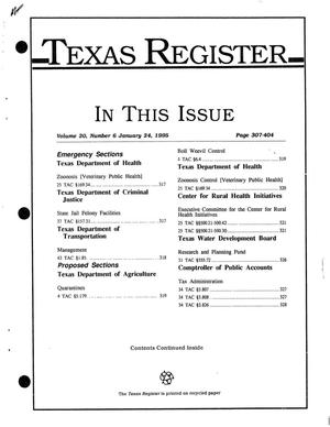 Primary view of object titled 'Texas Register, Volume 20, Number 6, Pages 307-404, January 24, 1995'.