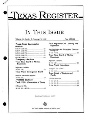 Primary view of object titled 'Texas Register, Volume 20, Number 7, Pages 405-522, January 27, 1995'.