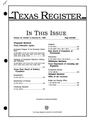 Primary view of object titled 'Texas Register, Volume 20, Number 8, Pages 523-595, January 31, 1995'.