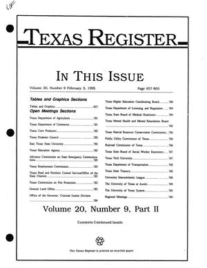 Primary view of object titled 'Texas Register, Volume 20, Number 9, Part II, Pages 657-800, February 3, 1995'.