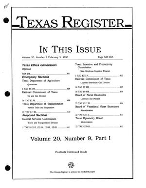 Texas Register, Volume 20, Number 9, Part I, Pages 597-655, February 3, 1995