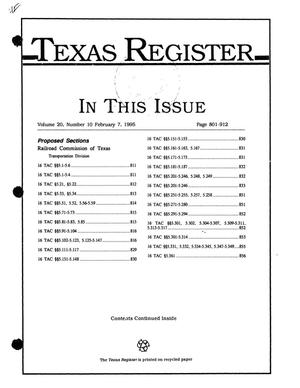 Primary view of object titled 'Texas Register, Volume 20, Number 10, Pages 801-912, February 7, 1995'.