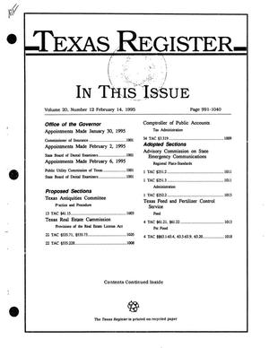 Primary view of object titled 'Texas Register, Volume 20, Number 12, Pages 991-1040, February 14, 1995'.