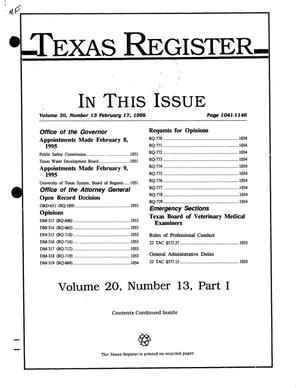 Primary view of object titled 'Texas Register, Volume 20, Number 13, Part I, Pages 1041-1146, February 17, 1995'.