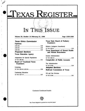 Primary view of object titled 'Texas Register, Volume 20, Number 14, Pages 1239-1308, February 21, 1995'.