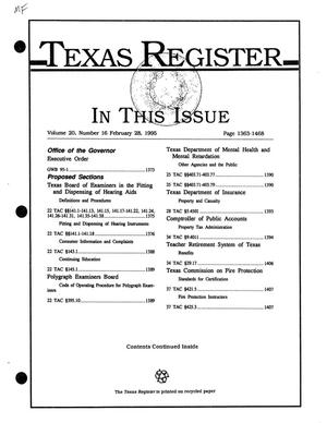 Primary view of object titled 'Texas Register, Volume 20, Number 16, Pages 1363-1468, February 28, 1995'.
