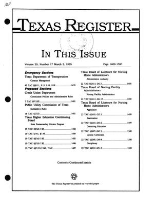 Primary view of object titled 'Texas Register, Volume 20, Number 17, Pages 1469-1590, March 3, 1995'.