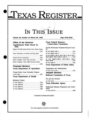 Primary view of object titled 'Texas Register, Volume 20, Number 24, Pages 2245-2359, March 28, 1995'.