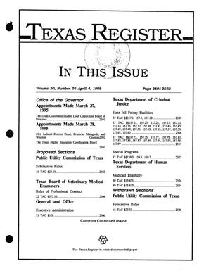 Primary view of object titled 'Texas Register, Volume 20, Number 26, Pages 2491-2562, April 4, 1995'.