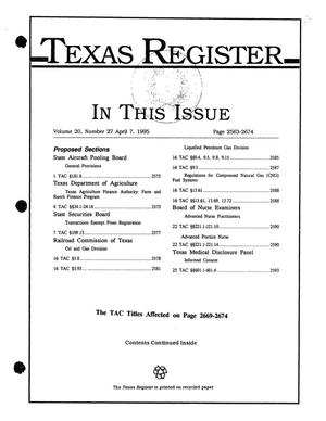 Primary view of object titled 'Texas Register, Volume 20, Number 27, Pages 2563-2674, April 7, 1995'.
