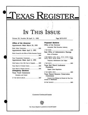 Primary view of object titled 'Texas Register, Volume 20, Number 28, Pages 2675-2737, April 11, 1995'.