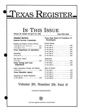 Primary view of object titled 'Texas Register, Volume 20, Number 29, Part II, Pages 2821-2969, April 18, 1995'.