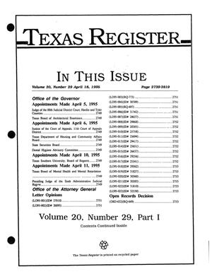 Primary view of object titled 'Texas Register, Volume 20, Number 29, Part I, Pages 2739-2819, April 18, 1995'.