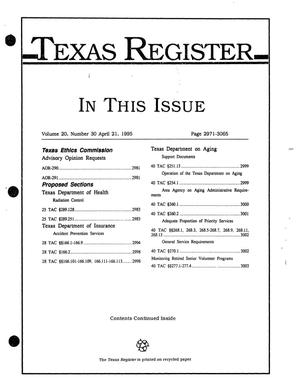 Primary view of object titled 'Texas Register, Volume 20, Number 30, Pages 2971-3065, April 21, 1995'.