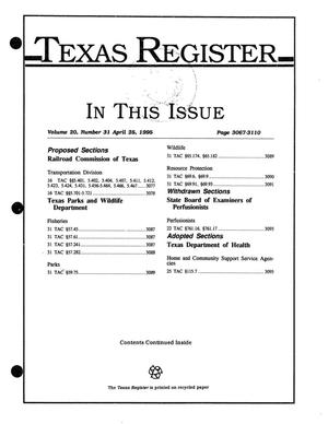 Primary view of object titled 'Texas Register, Volume 20, Number 31, Pages 3067-3110, April 25, 1995'.