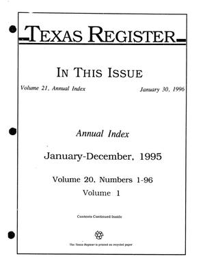 Primary view of object titled 'Texas Register: Annual Index January-December, 1995, Volume 20, Number 1-96, (Volume 1), January 30, 1996'.