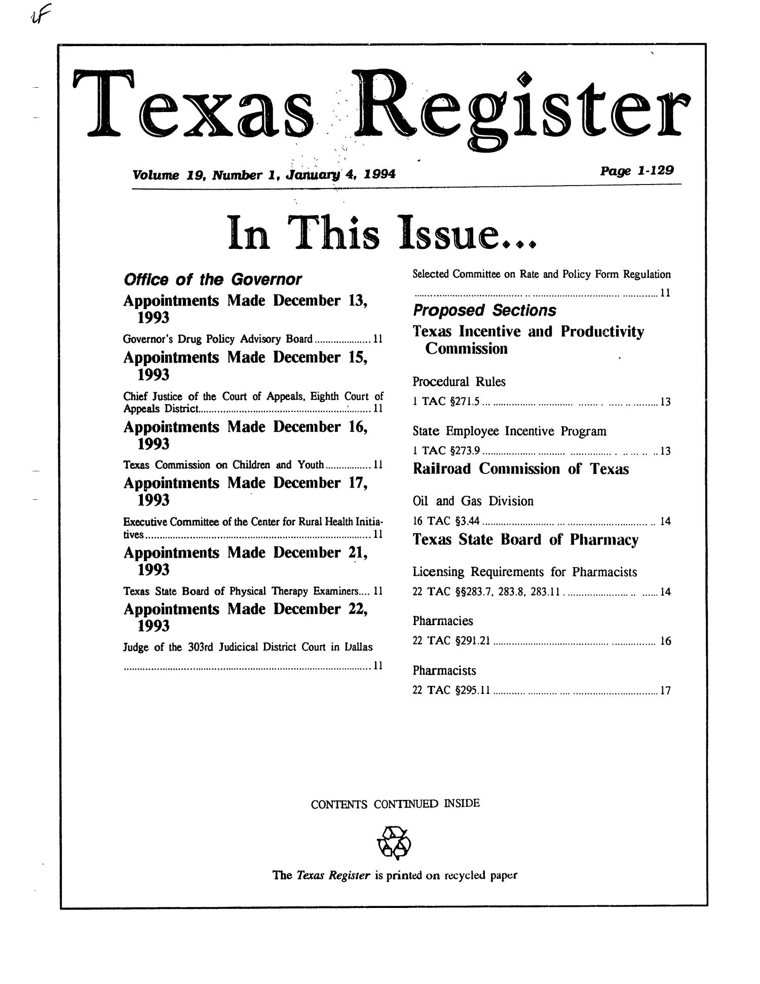 Texas Register, Volume 19, Number 1, Pages 1-129, January 4, 1994                                                                                                      Title Page