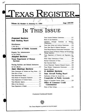 Primary view of object titled 'Texas Register, Volume 19, Number 3, Pages 189-230, January 11, 1994'.