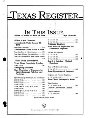 Primary view of object titled 'Texas Register, Volume 19, Number 20, Pages 1869-2036, March 18, 1994'.