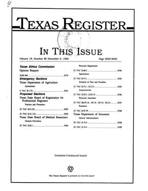 Primary view of object titled 'Texas Register, Volume 19, Number 89, Pages 9569-9693, December 6, 1994'.