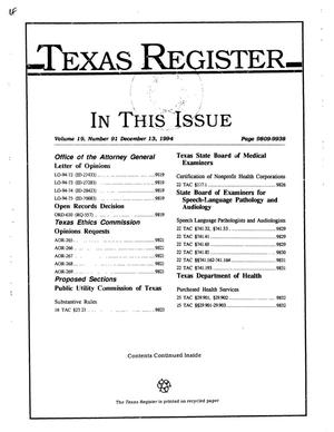 Texas Register, Volume 19, Number 91, Pages 9809-9938, December 13, 1994
