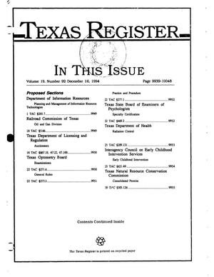 Primary view of object titled 'Texas Register, Volume 19, Number 92, Pages 9939-10048, December 16, 1994'.