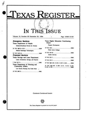 Primary view of object titled 'Texas Register, Volume 19, Number 93, Pages 10049-10130, December 20, 1994'.
