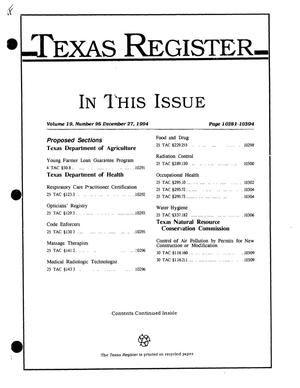 Primary view of object titled 'Texas Register, Volume 19, Number 95, Pages 10281-10394, December 27, 1994'.