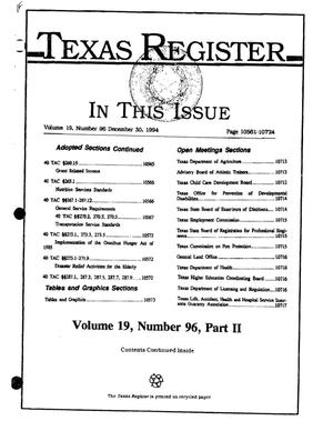 Primary view of object titled 'Texas Register, Volume 19, Number 96, (Part II), Pages 10561-10724, December 30, 1994'.