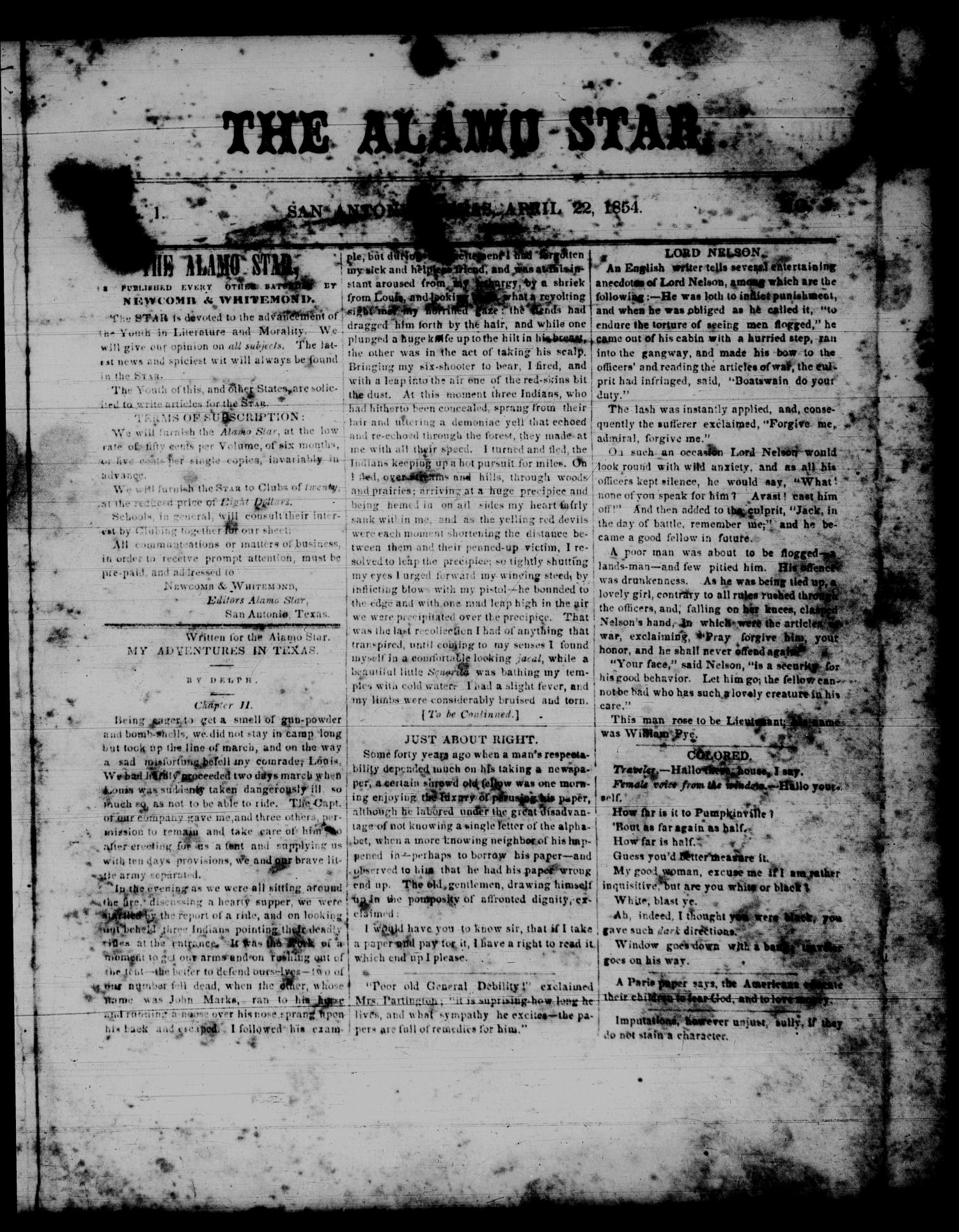 The Alamo Star (San Antonio, Tex.), Vol. 1, No. 3, Ed. 1 Saturday, April 22, 1854                                                                                                      [Sequence #]: 1 of 4