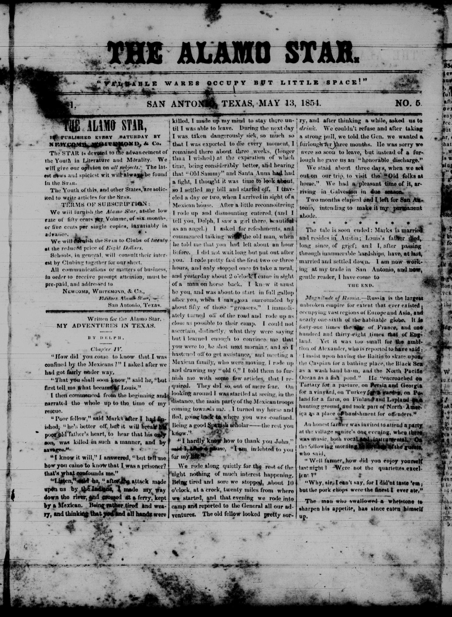 The Alamo Star (San Antonio, Tex.), Vol. 1, No. 5, Ed. 1 Saturday, May 13, 1854                                                                                                      [Sequence #]: 1 of 4