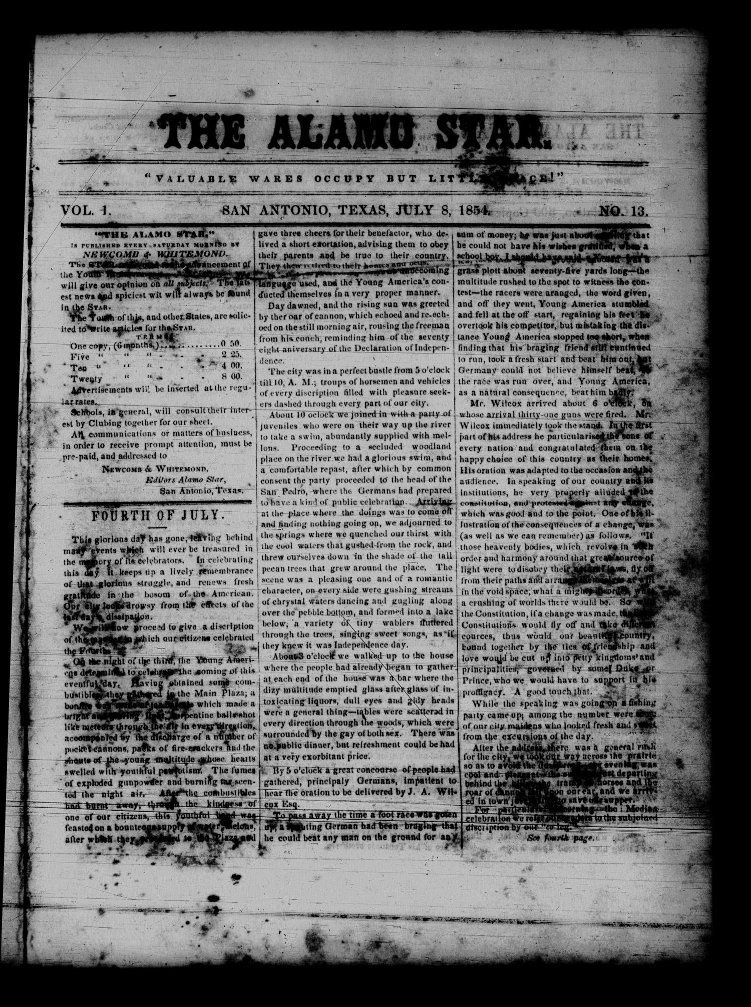 The Alamo Star (San Antonio, Tex.), Vol. 1, No. 13, Ed. 1 Saturday, July 8, 1854                                                                                                      [Sequence #]: 1 of 4
