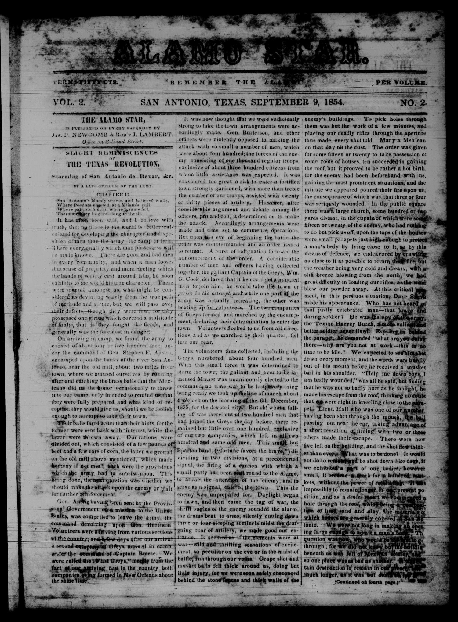 The Alamo Star (San Antonio, Tex.), Vol. 2, No. 2, Ed. 1 Saturday, September 9, 1854                                                                                                      [Sequence #]: 1 of 4