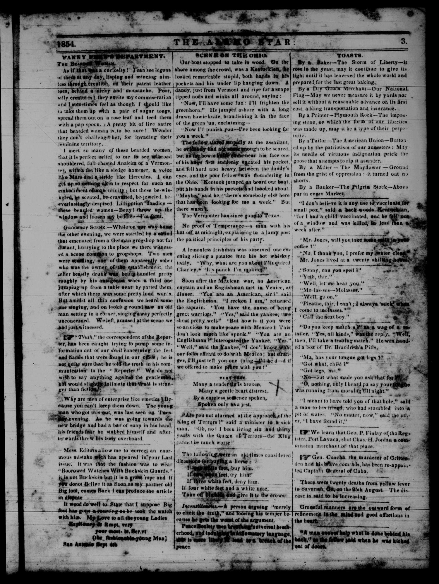 The Alamo Star (San Antonio, Tex.), Vol. 2, No. 2, Ed. 1 Saturday, September 9, 1854                                                                                                      [Sequence #]: 3 of 4