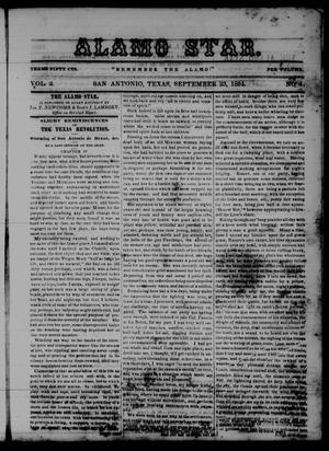 Primary view of The Alamo Star (San Antonio, Tex.), Vol. 2, No. 4, Ed. 1 Saturday, September 23, 1854