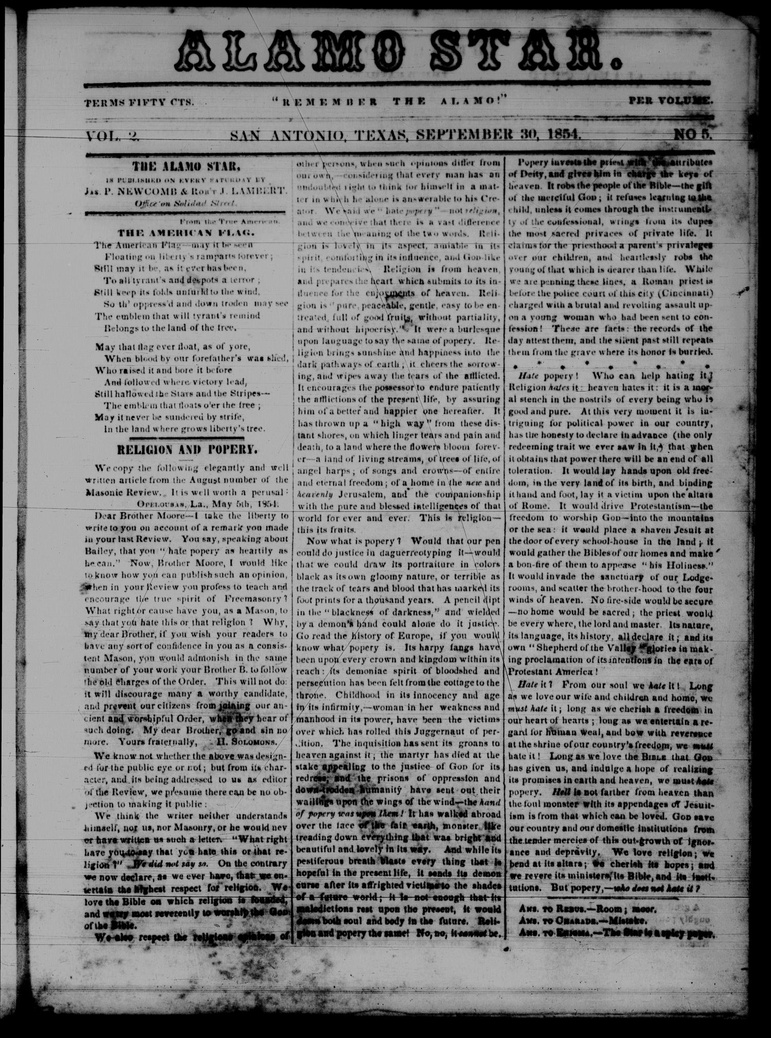 The Alamo Star (San Antonio, Tex.), Vol. 2, No. 5, Ed. 1 Saturday, September 30, 1854                                                                                                      [Sequence #]: 1 of 4