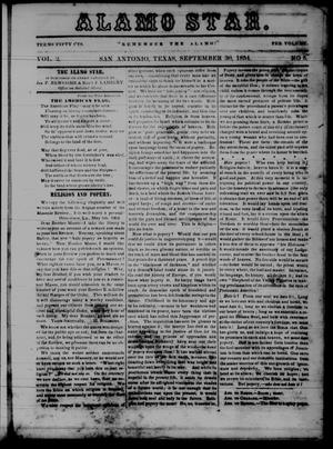 Primary view of object titled 'The Alamo Star (San Antonio, Tex.), Vol. 2, No. 5, Ed. 1 Saturday, September 30, 1854'.