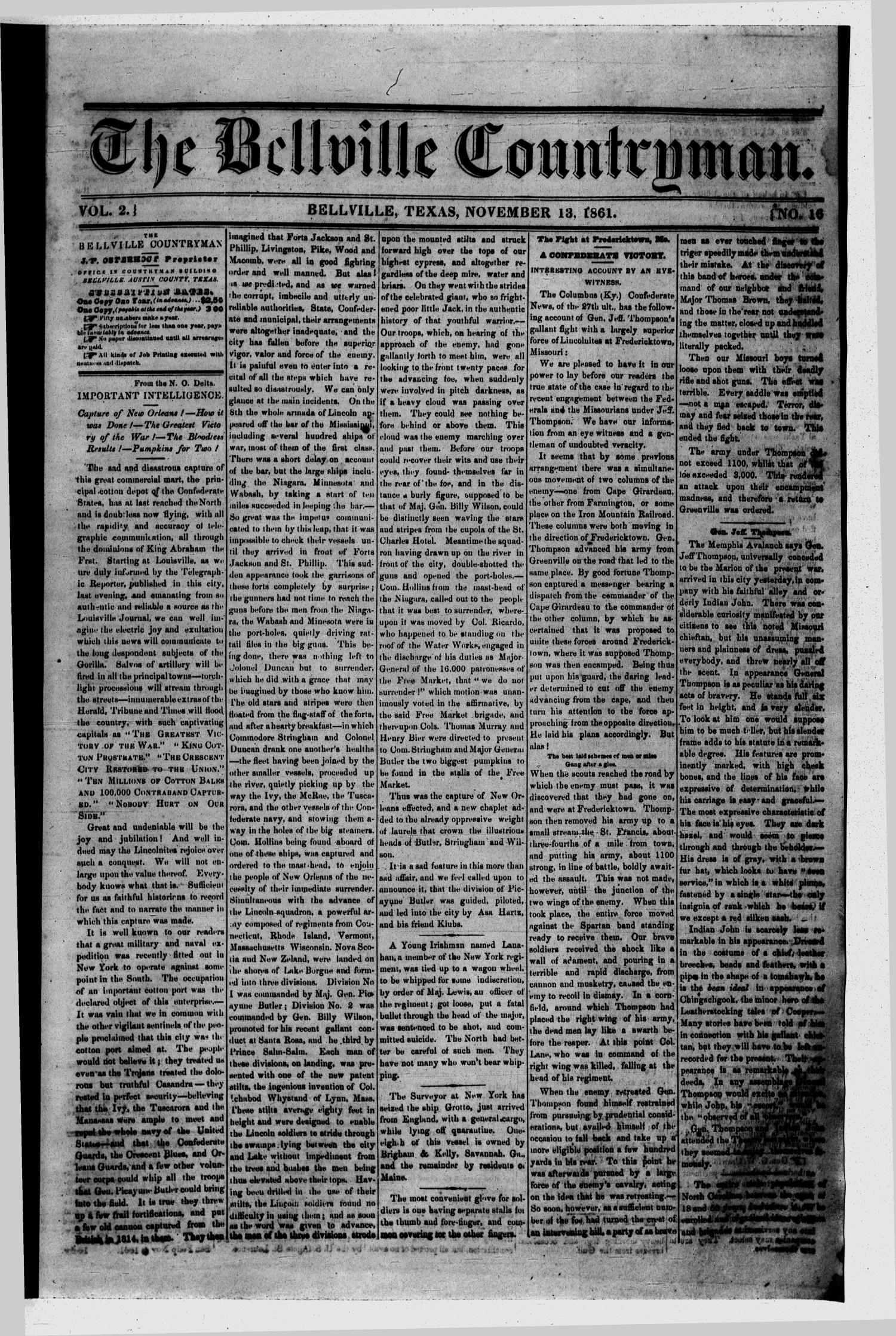 The Bellville Countryman (Bellville, Tex.), Vol. 2, No. 16, Ed. 1 Wednesday, November 13, 1861                                                                                                      [Sequence #]: 1 of 4